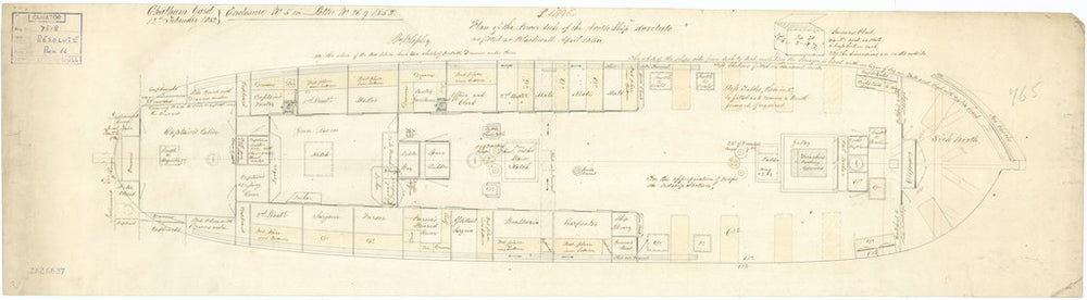Lower deck plan of Resolute (1850)