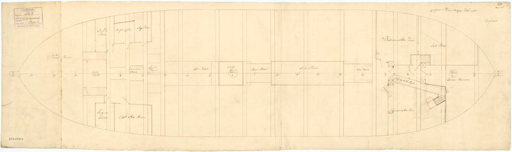 Orlop deck plan of 'Vanguard' (1748)