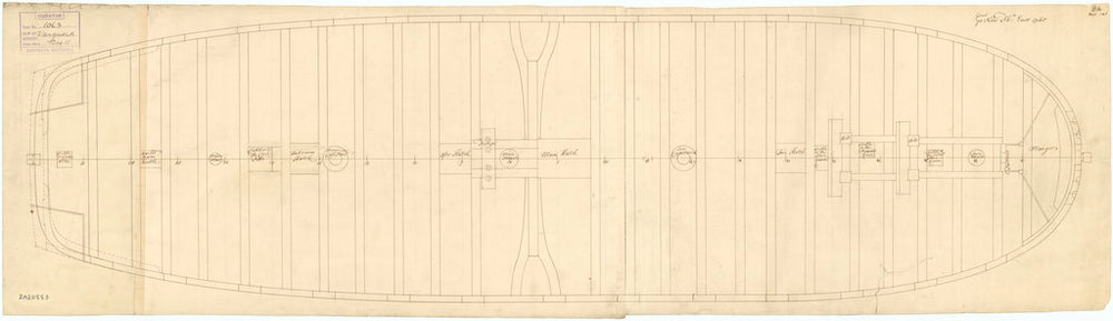 Gun deck plan of 'Vanguard' (1748)
