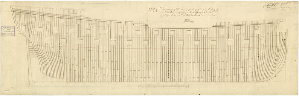 Plan showing framing profile (disposition) for Bombay Castle (1782); Powerful (1783); Defiance (1783); Thunderer (1783)