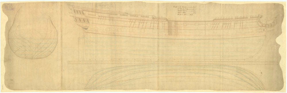 Plan showing the body plan with alterations, sheer lines, and longitudinal half-breadth with alterations, for Hero (1759)