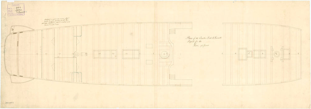Plan showing the quarterdeck and forecastle proposed (and approved) for Hero (1759)