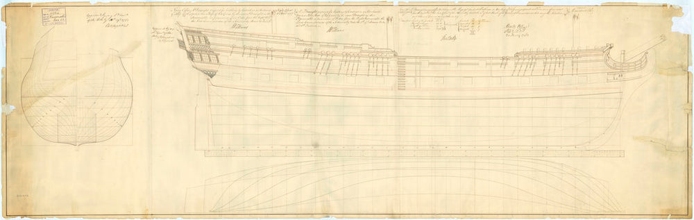 Lines plan of 'Agamemnon' (1781), 'Belliqueux' (1780) and 'Raisonnable' (1768)