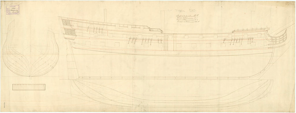 Plan showing the body plan, sheer lines, and longitudinal half-breadth for Dreadnought (1742) and Medway (1742)