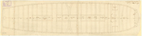 Plan of the upper deck of Tiger (1747)