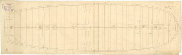 Plan of the gun deck (lower deck) of Tiger (1747)