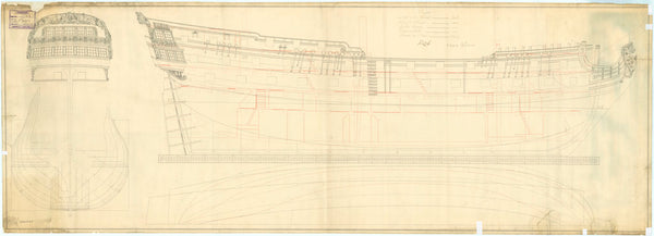 Plan showing the body, stern board, sheer lines of Tiger (1747)