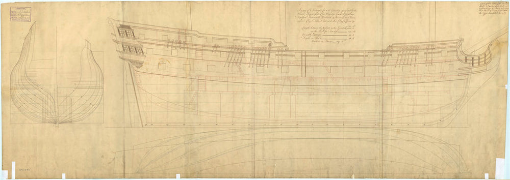 Plan showing the body, sheer lines with inboard detail, and longitudinal half-breadth of Tiger (1747)