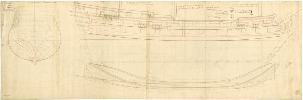Lines plan of the 'Rippon' (1735)