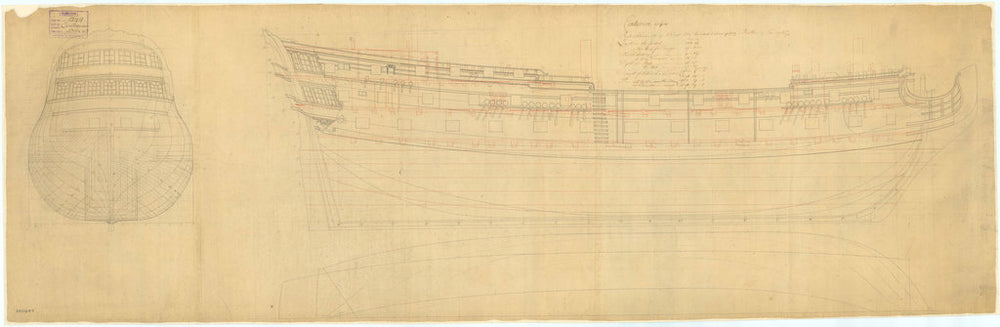 The lines and profile plans of the 'Centurion' (1732)