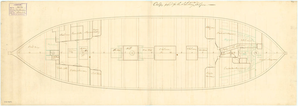 Deck and orlop plan of the 50 gun, 4th rate 'Salisbury' (1769) and Centurion (1774)