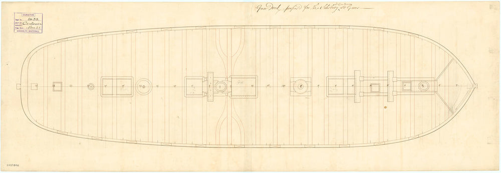Deck and gun plan of the 50 gun, 4th rate 'Salisbury' (1769) and 'Centurion' (1774)