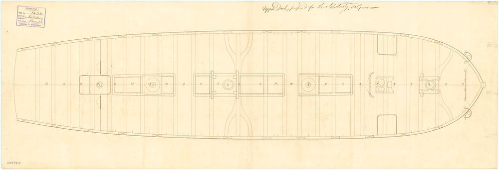 Upper deck plan of the 50 gun, 4th rate 'Salisbury' (1769) and 'Centurion' (1774)
