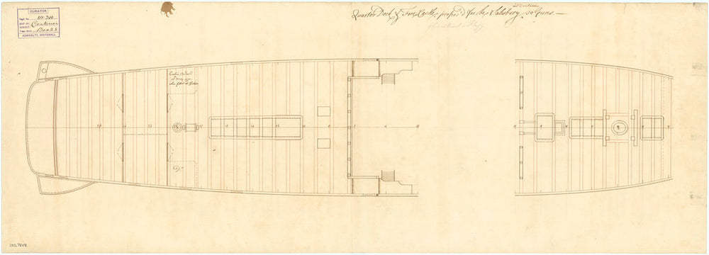 Deck, quarter & forecastle plan of the 50-gun, 4th rate 'Salisbury' (1769) and 'Centurion' (1774)