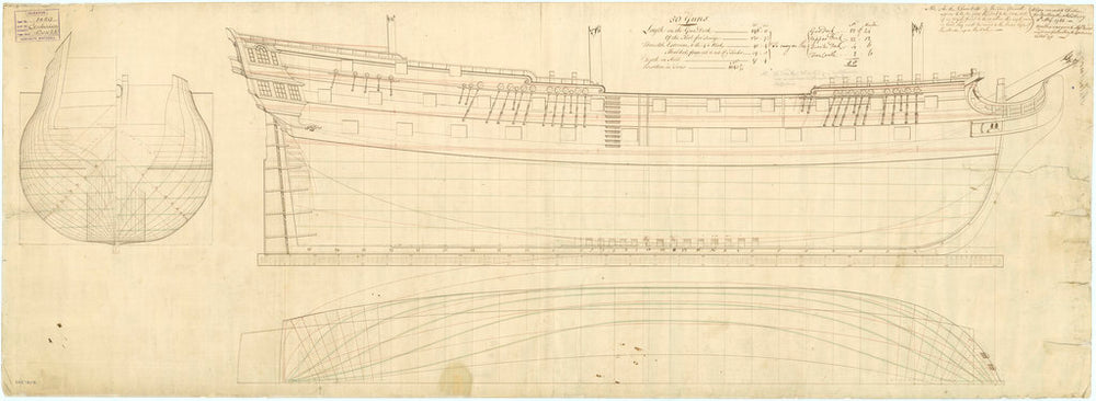 Lines plan of the 50-gun, 4th rate 'Salisbury' (1769) and 'Centurion' (1774)