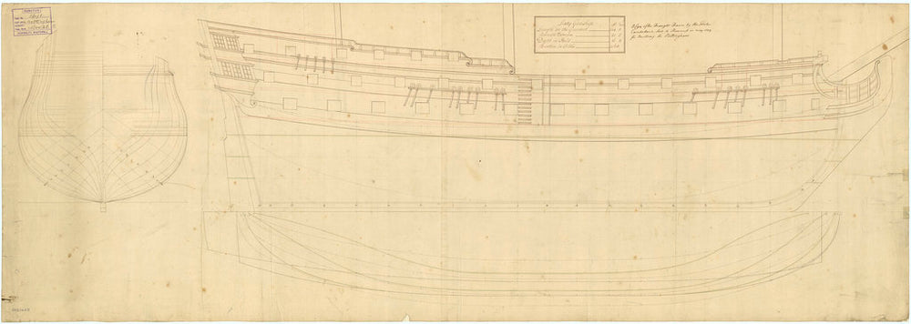 Plan showing the body, sheer lines, and longitudinal half-breadth for 'Nottingham' (1745)