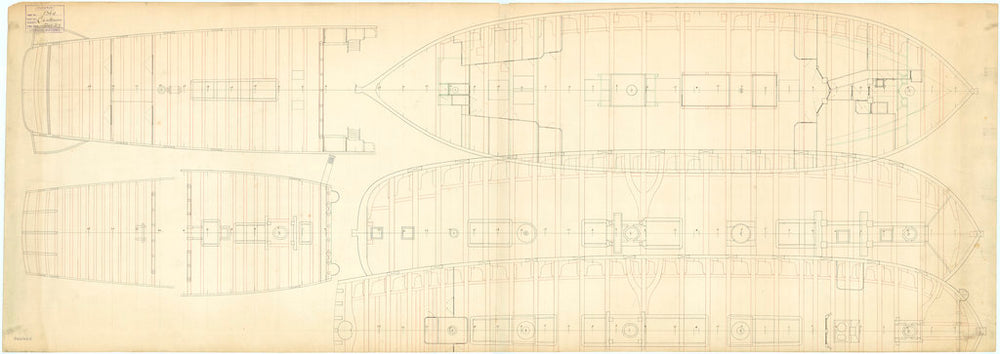 Deck plan of the 50-gun, 4th rate 'Centurion' (1774)