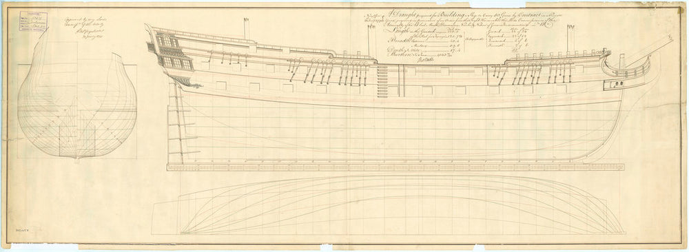 Lines plan of the 50-gun, 4th rate 'Centurion' (1774)