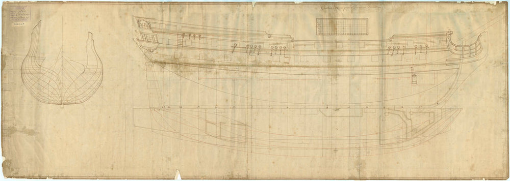 Chatham (1721) Plan showing the body plan, sheer lines with some inboard detail, and longitudinal half-breadth with platform details