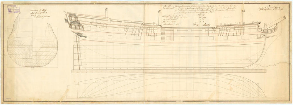 Plans for the 50-gun, 4th rate 'Salisbury' (1769)