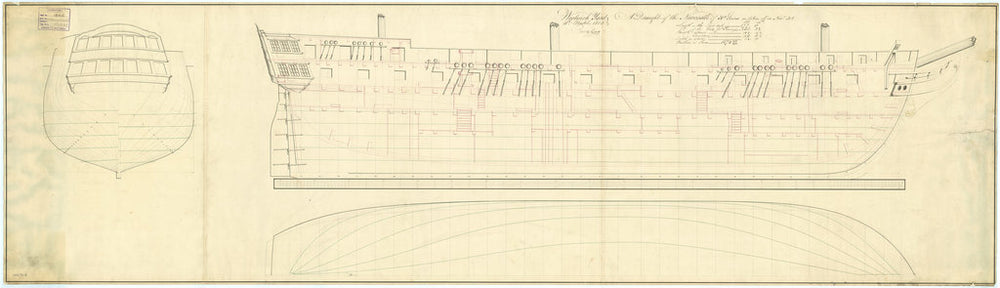Plan showing the framing profile (disposition) for Newcastle (1813)