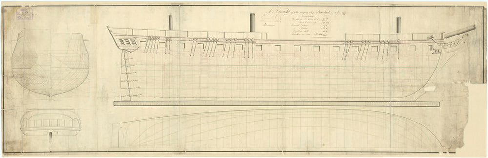 Lines plan for the naval vessel 'President' (captured 1815)