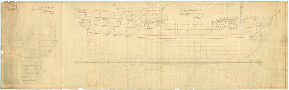 Lines plan of the 'Intrepid' (1770)