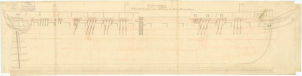 Inboard profile plan of 'Barham' (1811)
