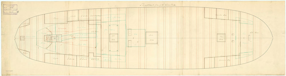 Plan showing the lower deck with platforms for Egyptienne (captured 1801)