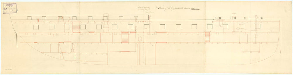 Plan showing the inboard profile for Egyptienne (captured 1801)