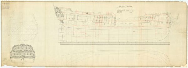 Lines and profile plan for 'Princess Caroline' (captured 1780)
