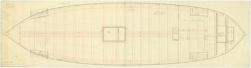 Plan showing the orlop deck for Bristol (1775)