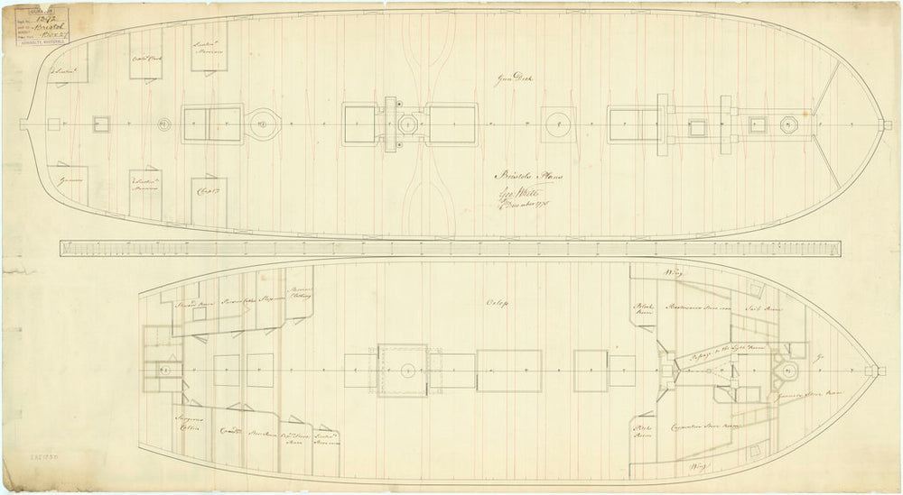 Plan showing the gun deck (lower deck) for 'Bristol' (1775)