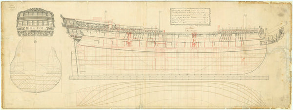 Plan showing the body plan, stern board decoration detail with the name on the counter, sheer lines with inboard detail and figurehead, and longitudinal half-breadth forthe 'Bristol' (1775)