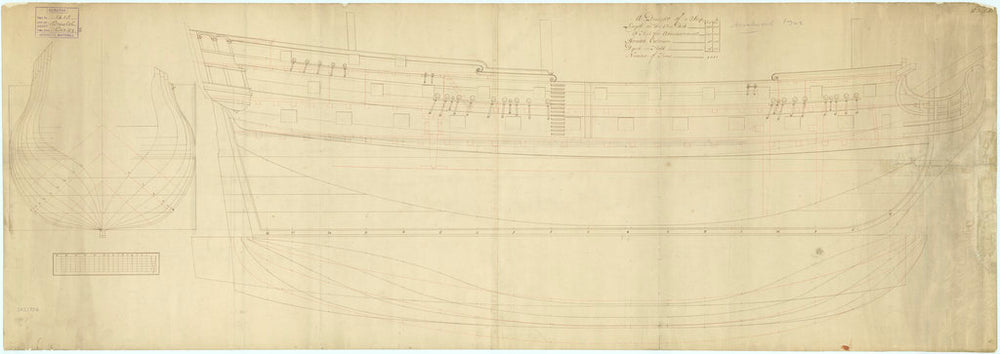 Plan showing the body, sheer lines with some inboard detail, and longitudinal half-breadth for Bristol (1746), and later for Rochester (1749)