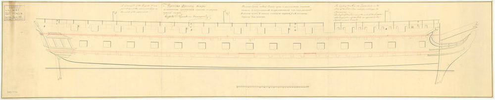 Plan showing the waterline profile for Venera (1808)
