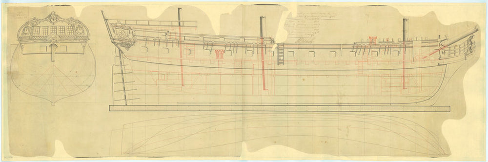 Lines and profile plan of Russian ship 'Venus' (fl. 1808)