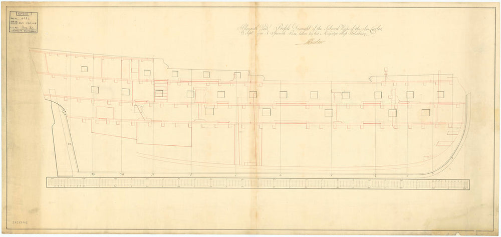 Plan of inboard profile for San Carlos (captured 1779) [obverse]