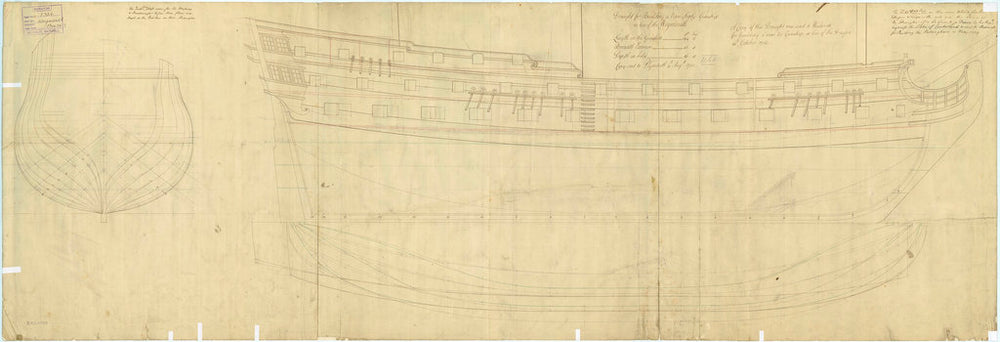 Plan showing the body plan, sheer lines, and longitudinal half-breadth for Weymouth (1736) and Dragon (1736)