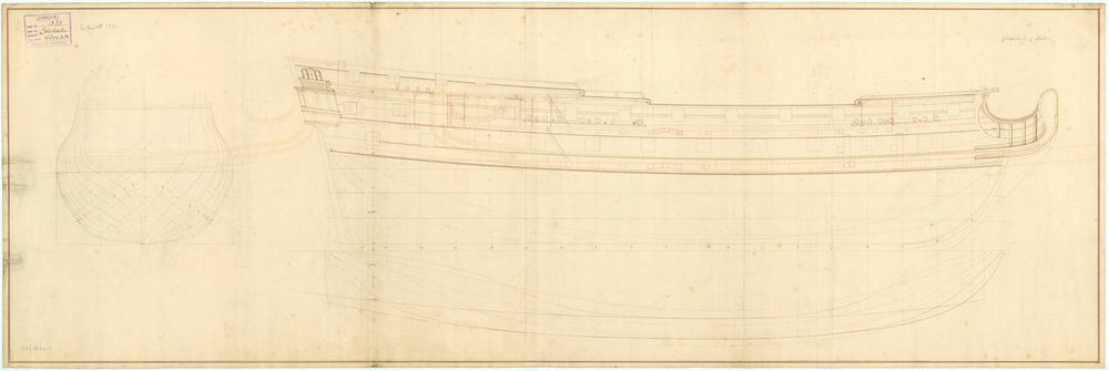 Colchester (1721) Plan showing the body plan, sheer lines with some inboard detail, and longitudinal half-breadth