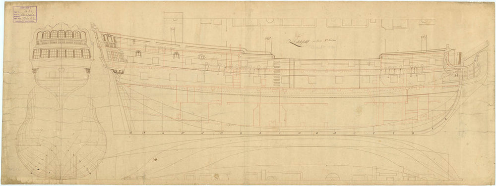 Lichfield (1730) [alternative spelling: Litchfield] Plan showing the body plan, stern board outline with some detail, sheer lines with inboard detail, and longitudinal half-breadth