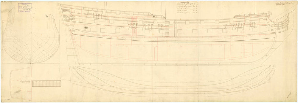 Plan showing the body plan, sheer lines with inboard detail, quarterdeck cabin plan, and longitudinal half-breadth for building Dreadnought (1742) and Medway (1742)