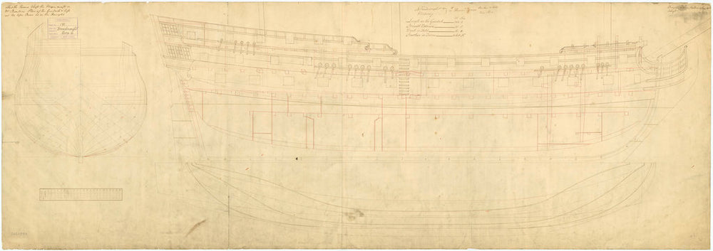Plan showing the body plan, sheer lines with inboard detail, and longitudinal half-breadth for Dreadnought (1742) and Medway (1742)