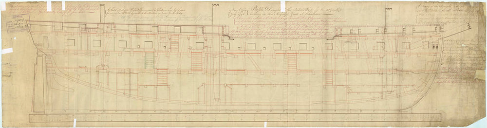 Plan showing the inboard profile for 'Leda' (1800)
