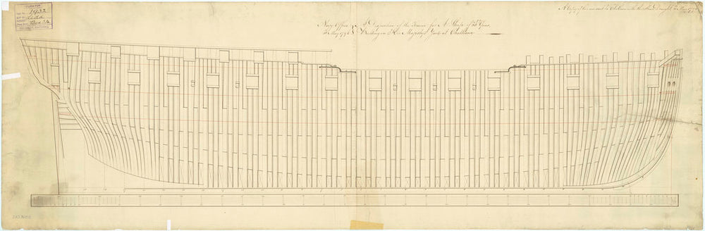 Plan showing the framing profile (disposition) for 'Leda' (1800)