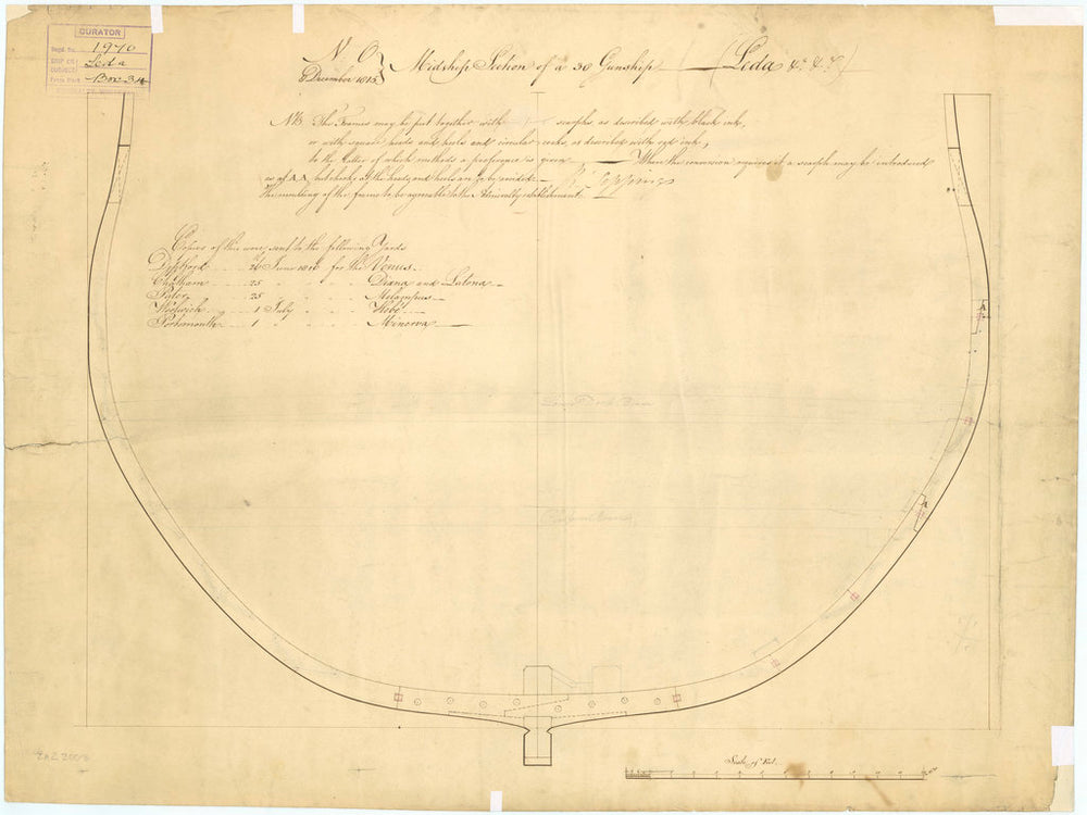 Plan showing the midship section for 'Leda' (1800)