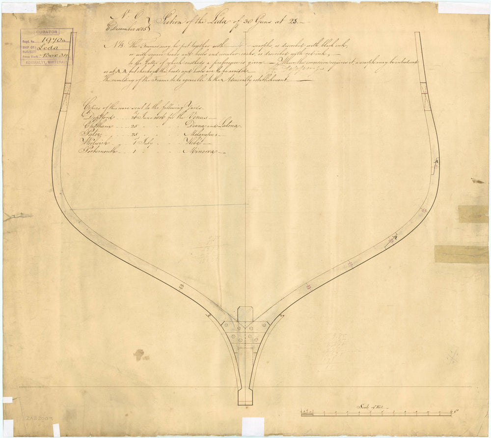 Plan showing the section at Station 25 illustrating the scarph joints of the framing for 'Leda' (1800)