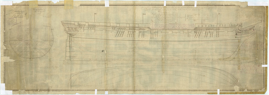 Detail of Plan showing the body plan, sheer lines, and longitudinal half-breadth for 'Leda' (1800), and later with alterations to 11 further vessels by unknown