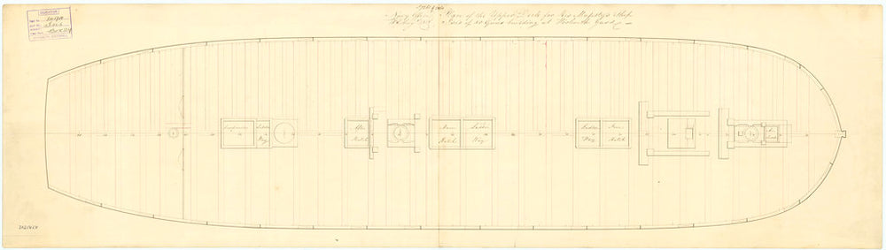 Plan of upper deck (main gun deck) for 'Isis' (1819)