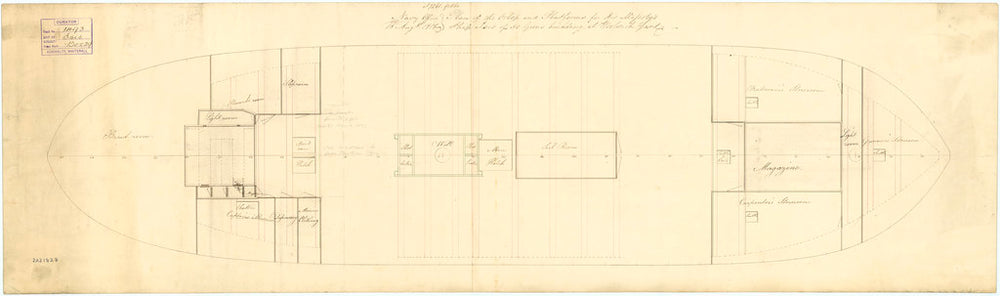 Plan of the orlop deck of 'Isis' (1819)